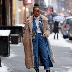 H&M long pile teddy coat
